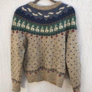 Eddie Bauer Wool Blend Sweater Bunnies Vintage